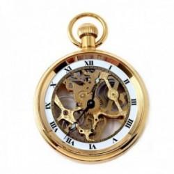 Reloj bolsillo dorado maquinaria visible cuerda [AB9491]