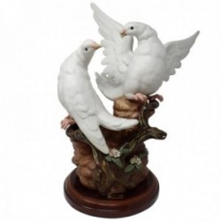 Figura cerámica palomas Tengra rama base madera [AB9495]