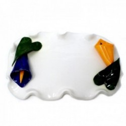 Bandeja cerámica flor calas bordes ondas [AB9497]