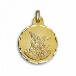 Medalla oro 18k San Miguel 21mm. cerco tallado [AC0765]