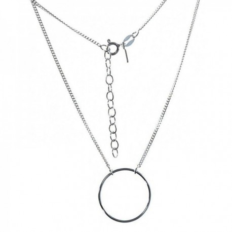 Gargantilla plata Ley 925m cadena 39mm. motivo Karma aro 20mm [AC0376]