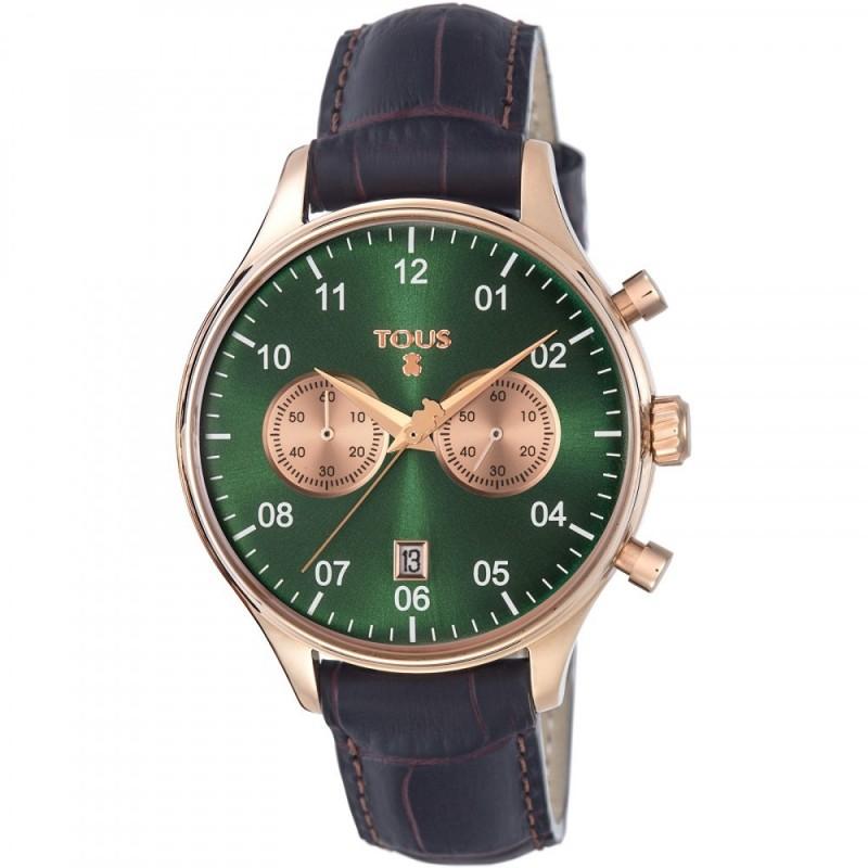 cf3f4e55ee67 Reloj Tous mujer 1920 verde correa piel marrón 600350445  AC0863