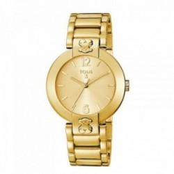 Reloj Tous mujer Plate Round dorado símbolo oso 400350945 [AC0860]