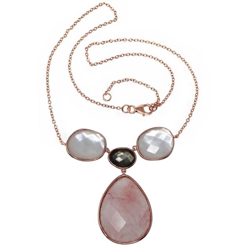 880a39b83b5d Gargantilla plata Ley rosada GLAMOUR 925 piedras naturales  AC0716