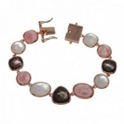 Pulsera plata Ley rosada GLAMOUR 925 piedras naturales 17.5cm cierre lengüeta mujer