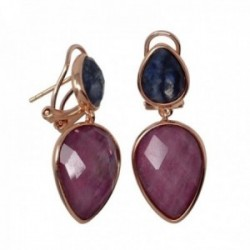 Pendientes plata Ley rosada GLAMOUR 925 piedras naturales [AC0728]