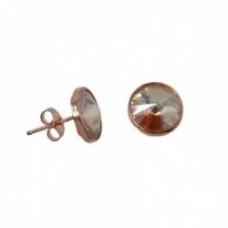 Pendientes plata Ley rosada GLAMOUR 925 by SWAROVSKI presión [AC0741]