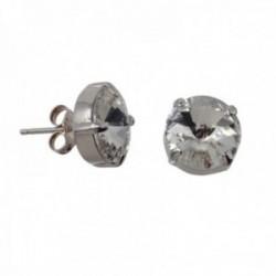 Pendientes plata Ley GLAMOUR 925 by SWAROVSKI 11mm. presión [AC0742]
