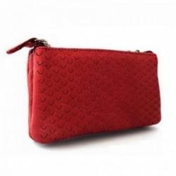 Monedero NIZA piel doble cremallera rojo [AC0806]
