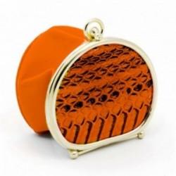 Monedero de polvera piel naranja borde metálico [AC0818]