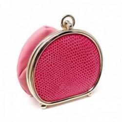 Monedero de polvera piel rosa borde metálico [AC0819]