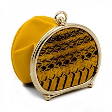 Monedero de polvera piel amarillo borde metálico [AC0820]