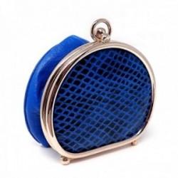 Monedero de polvera piel azul borde metálico [AC0821]