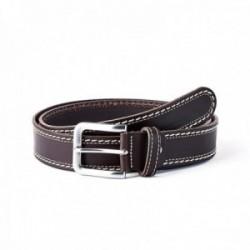 Cinturón piel SAUVAGE doble cosido marrón [AC0769]