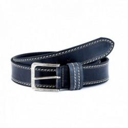 Cinturón piel STONEHEAD doble cosido negro [AC0775]