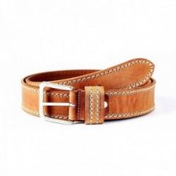Cinturón piel STONEHEAD doble cosido cuero [AC0776]