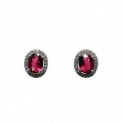 Pendientes plata Ley 925m rodiados 11mm. circonita rojos oval [AC0268]