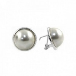 Pendientes plata Ley 925m media perla bocel cierre omega