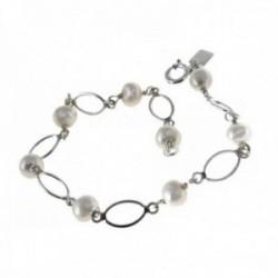 Pulsera plata Ley 925m niña comunión 17.5cm. asitas perla [AC0343]