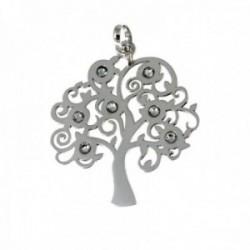 Colgante plata Ley 925m silueta 30mm árbol de la vida piedras [AC0345]