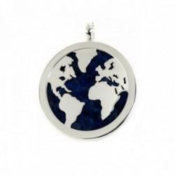 Colgante plata Ley 925m bola mundo 35mm. fondo piedra azul [AC0356]