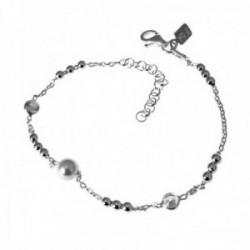 Pulsera plata Ley 925m cadena 16cm. motivos perla chatón [AC0369]