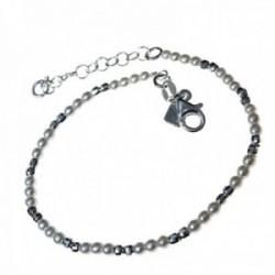 Pulsera plata Ley 925m 16cm. combinada bolas perlas [AC0371]