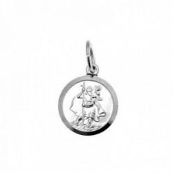 Colgante plata Ley 925m medalla 16mm. San Cristobal cerco [AC0379]