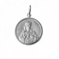 Colgante plata Ley 925m medalla 22mm. escapulario cerco [AC0390]