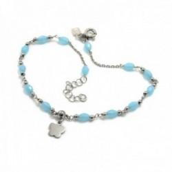 Tobillera plata Ley 925m cadena 21.5cm. piedra azul mariposa [AC0412]