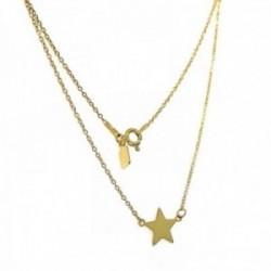 Gargantilla plata Ley 925m chapada dorada 41.5cm. estrella [AC0421]