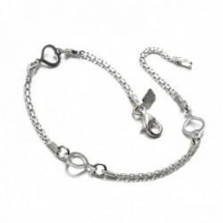 Pulsera plata Ley 925m cadena bismarck 19cm corazones calados [AC0433]