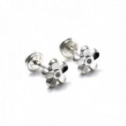 Pendientes plata Ley 925m niña 6mm. rodiados piedra flor [AC0454]