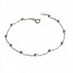 Pulsera plata Ley 925m 18cm. cadena combinada bolitas [AC0456]