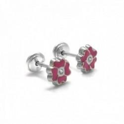 Pendientes plata Ley 925m niña 6mm. flor esmaltados rosa [AC0458]