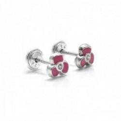 Pendientes plata Ley 925m niña 5mm. flor esmaltados rosa [AC0459]