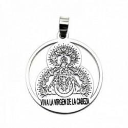 Colgante plata Ley 925m medalla 26mm. Virgen de la Cabeza [AC0463]
