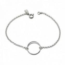 Pulsera plata Ley 925m motivo Karma aro 18cm. cadena rolo [AC0466]