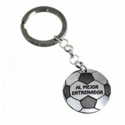 Llavero plata Ley 925m balón fútbol 30mm. AL MEJOR ENTRENADOR [AC0478]