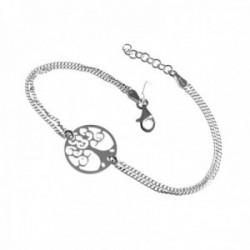 Pulsera plata Ley 925m doble cadena 17cm. árbol de la vida [AC0479]