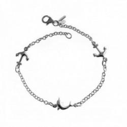 Pulsera plata Ley 925m cadena 19cm. motivos delfín anclas [AC0484]