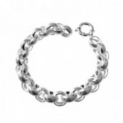 Pulsera plata Ley 925m cadena ancha rolo 20cm. motivos greca [AC0494]