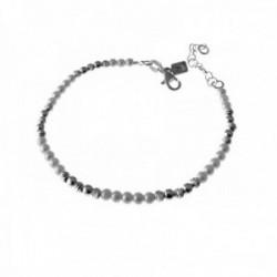 Pulsera plata Ley 925m 16cm. bolas lisas talladas perlas [AC0507]