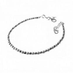 Pulsera plata Ley 925m infantil 15.5cm. perlas bolas talladas [AC0508]
