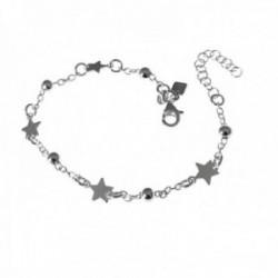 Pulsera plata Ley 925m cadena 16cm. motivos bolas estrellas [AC0524]