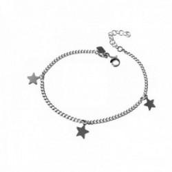 Pulsera plata Ley 925m cadena barbada 16cm fetiches estrellas [AC0525]