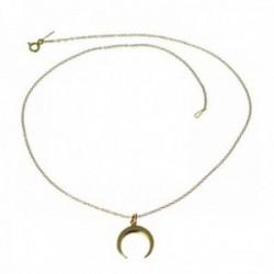 Gargantilla plata Ley 925m chapada 40cm luna invertida dorada [AC0536]