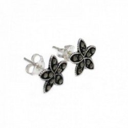 Pendientes plata Ley 925m flor 10mm. piedras marquesitas [AC0575]