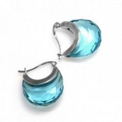 Pendientes aros plata Ley 18mm. circonita color azul [AC0598]