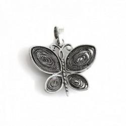 Colgante plata Ley 925m mariposa 25mm. oxidada [AC0604]